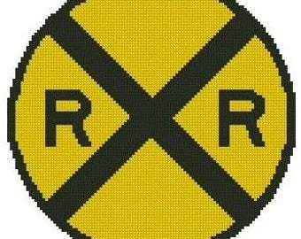 Rail Road Crossing Sign Cross Stitch Kit