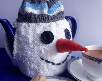 Knitting Pattern for SNOWMAN TEA COSY pdf