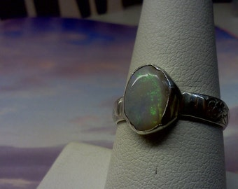 Reserved Listing for Nettajewels  Rare Mintabie SIlver Opal Ring  Custom made