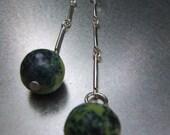 Jewelry, Earrings, Sterling silver, Green, Yellow, Gemstone. Earrings with gemstone on sterling silver chain. Jewelry by stefaniekraus on Etsy