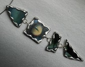 Choker with four piece soldered teal glass pendant
