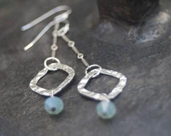 Fine Silver Earrings with green bead