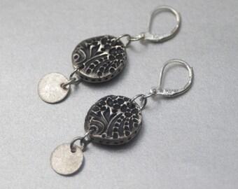 Fine Silver Earrings with handmade silver medallion