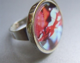 Ring, Jewelry, Silver, Photograph, Abstract Image. Silver-toned ring with photograph of red leaves. Soldered Jewelry by stefaniekraus on Etsy