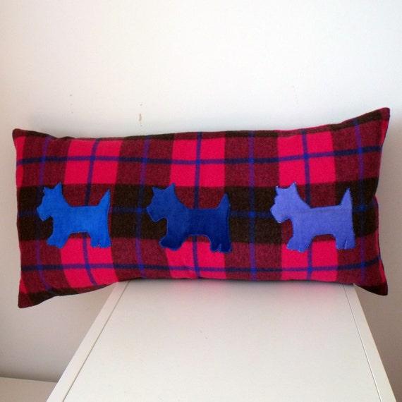 OOAK Hot Pink Tartan Cushion with Appliquéd Blue Velvet Scottie Dogs