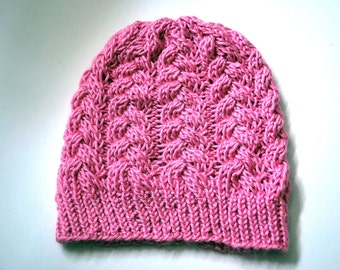 Braided Cables Hat in Pink Frosting