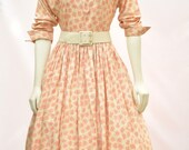 1940's AUTHENTIC VINTAGE Cream and Red Cross Print Full Skirt Rayon Dress with Rhinestone and Bow Collar and Rhinestone Buttons.