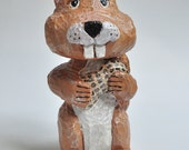 Chipmunk Wood Carving Cute Animal for your Home Decor or as a Birthday Gift - Shelf SALE SHOP CLOSING