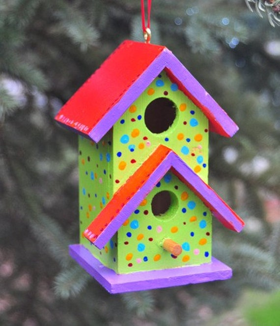 Colorful bird house ornament or room beam by flyingjcreations - Decorating with bird houses ...
