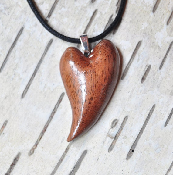 Valentine Heart Wood Carving Heart Pendant Black Walnut Wood SALE SHOP CLOSING