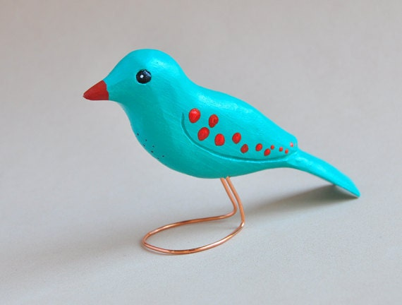 Spring Decor, Wood Carving, Easter Colors, Colorful Blue Bird with Red Dots