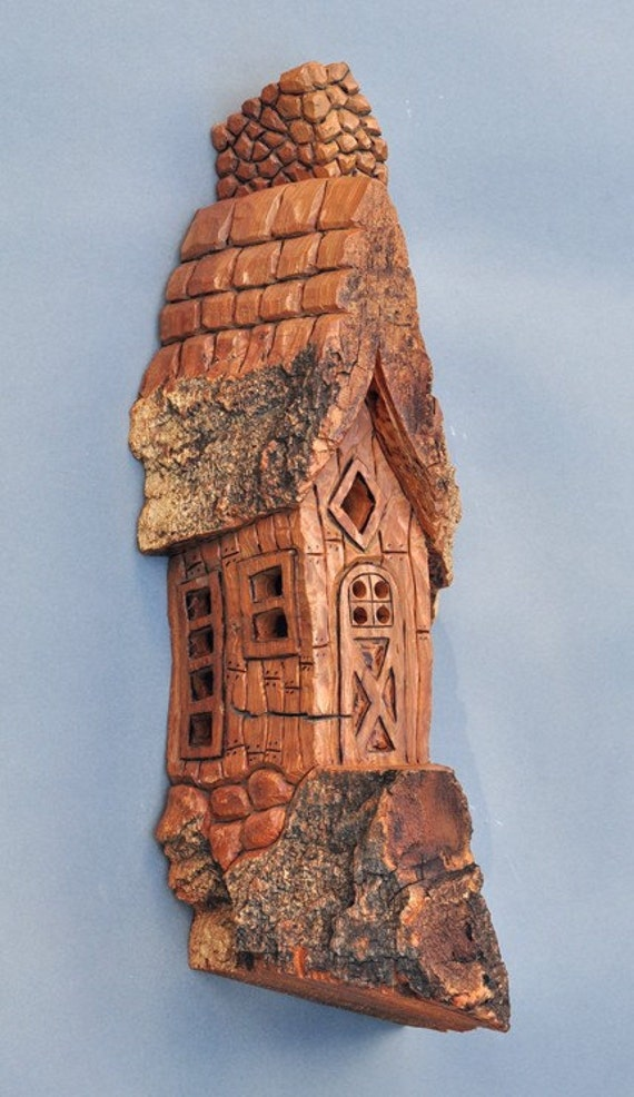 Sale whimsical house hand carved in cottonwood bark