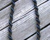 Blue Seas Spiral Bead Crochet Necklace