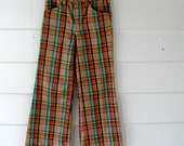 SALE Plaid Childrens Bellbottom Pants in Red, Green and Tan 1960s 1970s