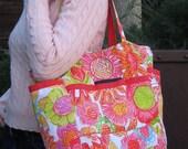 Flower Love Upcycled Large Weekender - Vintage Hot Pink and Neon Floral Print Market / Diaper Bag