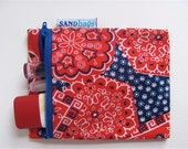 Country Time Upcycled LIttle Zip - Vintage Red White and Blue Bandana Print Mini Zipper Coin / Cosmetic / Wallet - Eco Friendly - OOAK