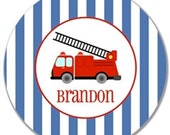 Personalized Melamine Plate-Fire Truck