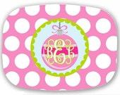 Personalized Melamine Platter--Monogramed Ornament Pink