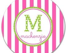 "Personalized 10"" Kids Melamine Plate--Children's Initial Stripe Plate"