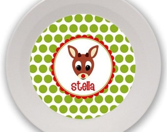 Personalized Melamine Bowl (Rudolph)