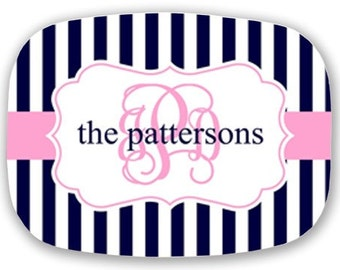 Personalized Melamine Platter-Navy and Pink