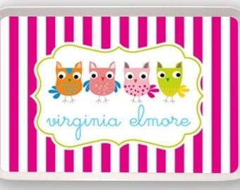 Personalized Melamine Tray (Multicolor Owls)