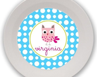 Personalized Melamine Bowl (Multicolor Owl)