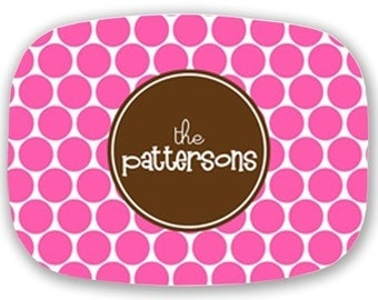 Customize a  Personalized Melamine Platter (Polka Dots)