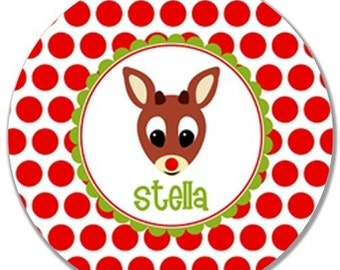 Personalized Melamine Plate (Rudolph)