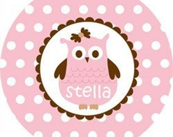 Personalized Children's Melamine Plate or Bowl--Simply Stella Owl