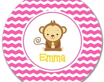 Personalized Kids Melamine Plate-Zig Zag Monkey