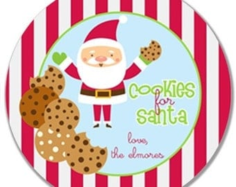 Personalized Melamine Plate--Christmas Cookies for Santa