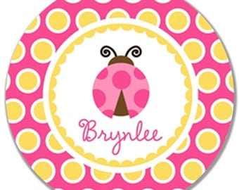 "Personalized 10"" Melamine Plate-Polka Dot Ladybug Pink and Yellow"