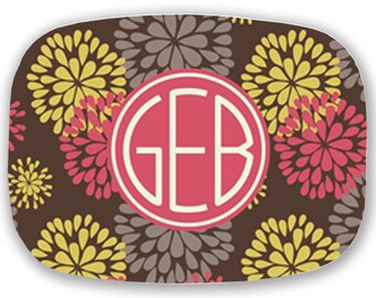 Personalized Melamine Platter-Dahlia with Circle Monogram (PYB)