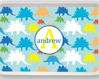 Personalized Melamine Tray--Dino Initial