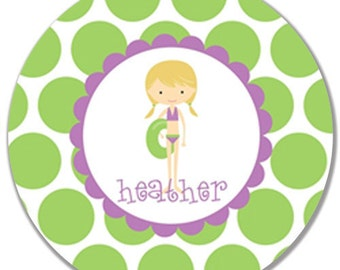 "Personalized 10"" Melamine Plate-Pool Girl (Purple/Blonde)"