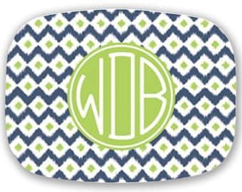 Personalized Melamine Platter- Navy and Green Ikat