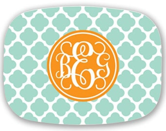 Personalized Melamine Platter-Quatrefoil Monogram with Custom Colors