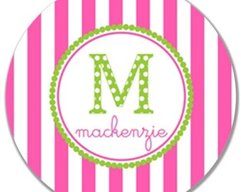 "Personalized 10"" Kids Melamine Plate--Children's Initial Stripe Plate"