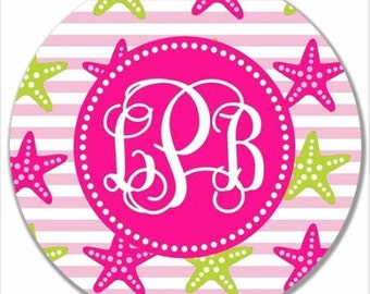 Personalized Melamine Plate-Monogram Starfish Pink and Green