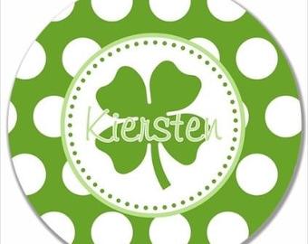 "Personalized 10"" Melamine Plate--St Patrick's Day Polka Dot"