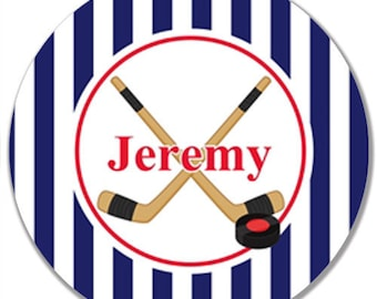 "Personalized 10"" Melamine Plate--Hockey Stripe (Customize with Your Team's Colors)"