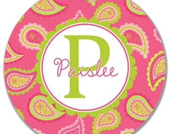 """Personalized 10"""" Melamine Plate--Pretty Pink Paisley"""