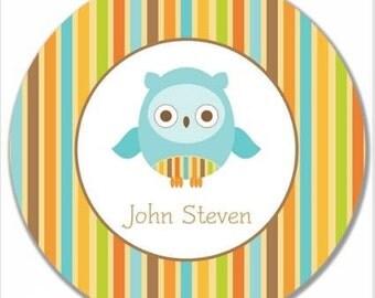 """Personalized 10"""" Melamine Plate--Mod Owl Boy"""