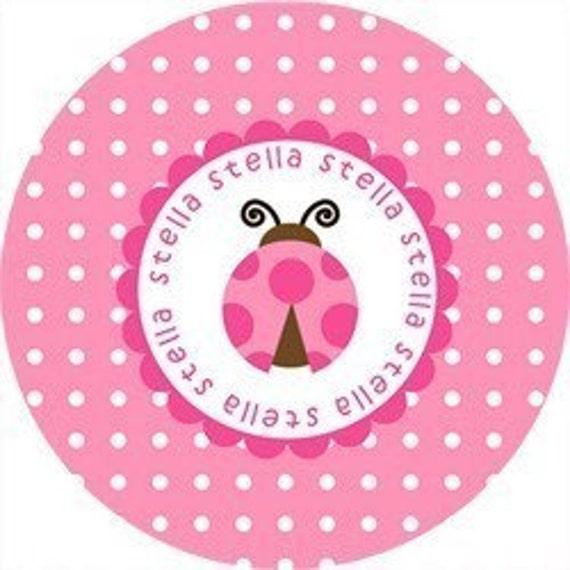 Personalized Melamine Plate-Pink Polka Dot Lady Bug