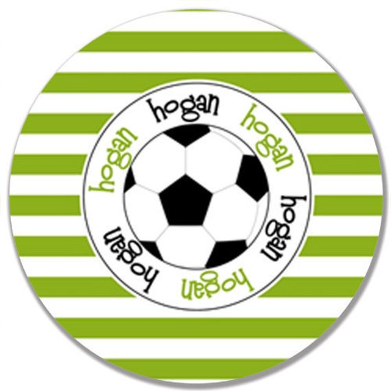 """Personalized 10"""" Melamine Plate--Soccer Stripes (Customize to Your Team's Colors)"""