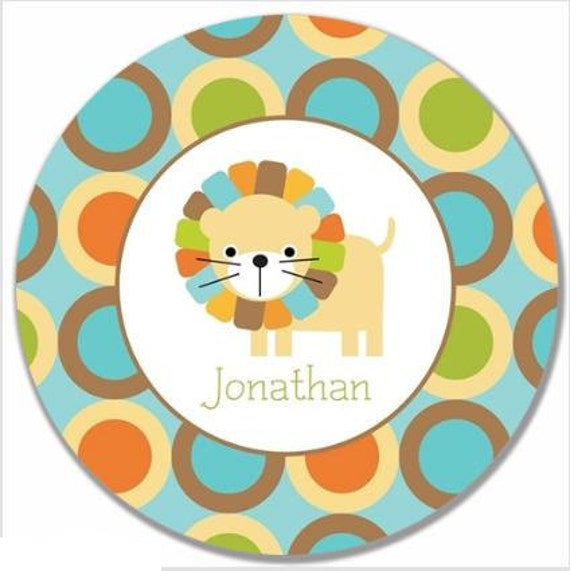 "Personalized 10"" Melamine Plate--Mod Lion Boy"