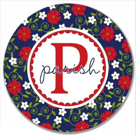 """Personalized 10"""" Melamine Plate--Flower Frenzy Navy and Red"""
