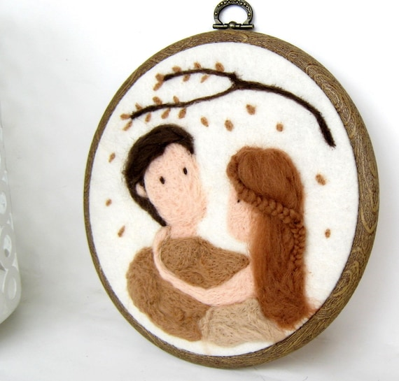 Falling in Love -  Wool Needle Felted Wall Hanging Art