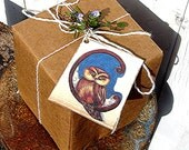 Recycled Material Gift Tags- Owl Sitting on the Moon